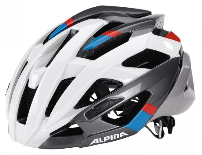 Alpina Valparola RC Fahrradhelm - white-darksilver-blue-red